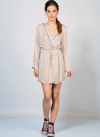 Goldie Uzun Kollu V Yaka Mini Elbise Krem